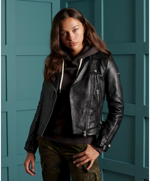 W5010037A | Superdry Essentials Leather Biker Jacket