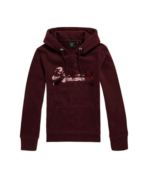 W2010513A | Geborstelde Vintage Logo-hoodie met lovertjes