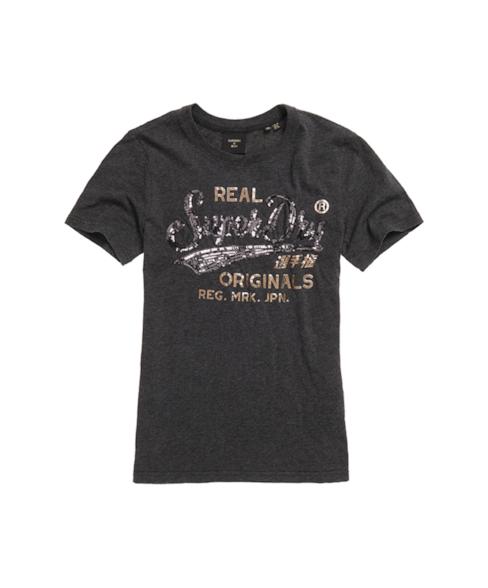 W1010248A | T-shirt met sierletters en lovertjes
